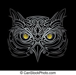 Owl head illustration
