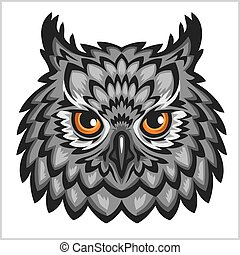 Owl Head - isolated on white. - Owl hwad mascot - isolated...