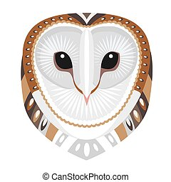 Owl Head Logo. Vector decorative Emblem.