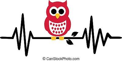Owl heartbeat line