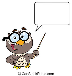 Owl Holding A Pointer Stick - Owl Teacher Character With A...