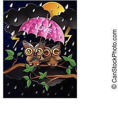 Owl holding an umbrella in the rain.