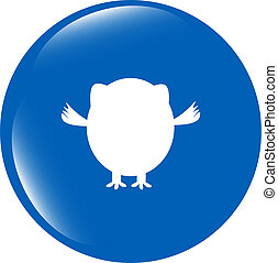 Owl icon button isolated on white