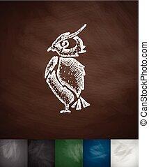owl icon. Hand drawn vector illustration