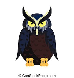 Owl icon in cartoon style