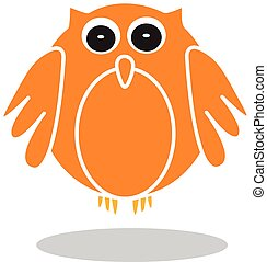 Owl icon in orange color, vector