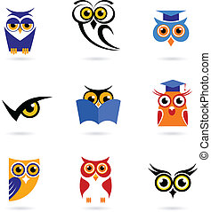 Owl icons and logos set