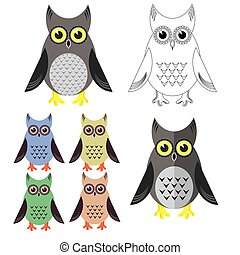 Owl Icons Isolated