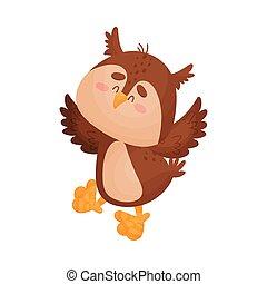 owl., illustration, arrière-plan., vecteur, blanc, dessin animé