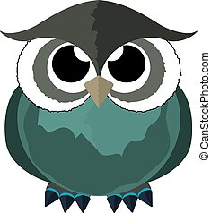 Owl in a cartoon style. Vector Image.