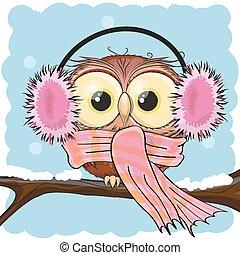 Cute Cartoon owl in a fur headphones on a branch
