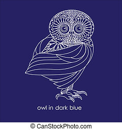 owl in dark blue - owl painted white outline on a dark blue...