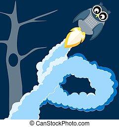 owl in flight - vector illustration