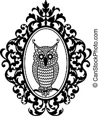 owl in frame, vector - owl in antique picture frame, vector...