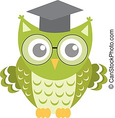 Owl in glasses with square academic cap icon, flat, cartoon style. Isolated on white background. Vector illustration.