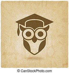 owl in graduation cap. wisdom symbol old background