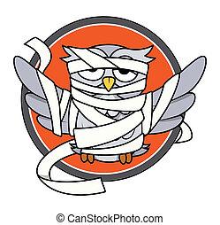 Owl in Mummy Costume Vector