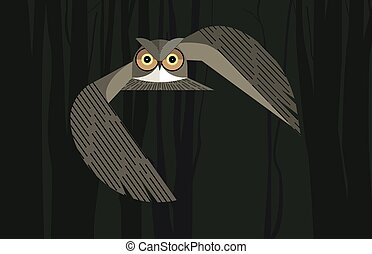 Owl in the night forest