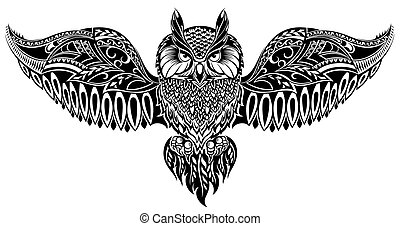 Owl in tribal style for mascot