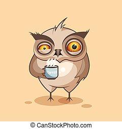 Owl is crying. Isolated emoji character cartoon owl crying ...