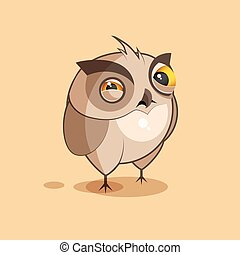 Owl is squints - Isolated Emoji character cartoon owl...