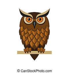 Owl Isolated on White. Vector - Decorative Hipster Vector...