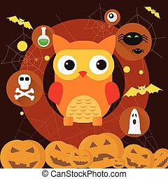 Owl Jack Pumpkin Flat Icon Halloween