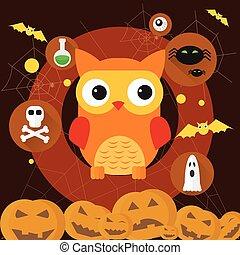 Owl Jack Pumpkin Flat Icon Halloween