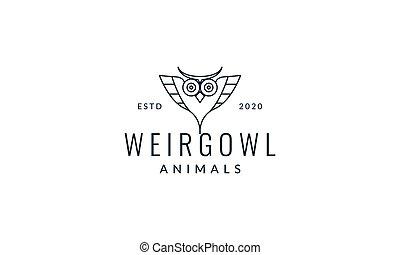 owl line head unique logo vector illustration design