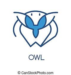 Owl logo design, blue label, badge or emblem with head of bird vector Illustration on a white background