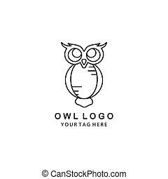 owl logo line art illustration vector template design