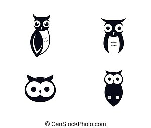 Owl logo template vector icon illustration