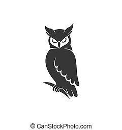 owl logo vector black