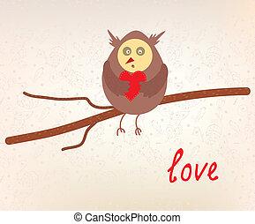 Owl love valentine card funny design