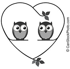 Owl valentine lovers on a heart branch isolated on white background