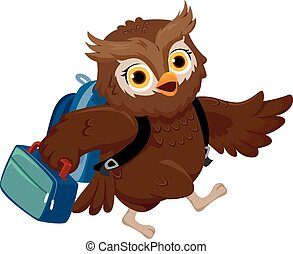 Owl Lunch Box - Illustration of an Owl Wearing a School Bag...