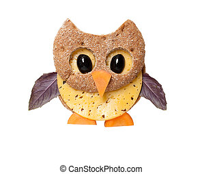 Owl made of bread and cheese on white background