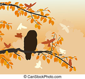 Owl mobbed - Editable vector illustration of songbirds...