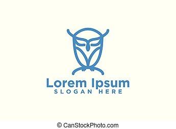 Owl, Mono Line Logo Designs, Vector Illustration