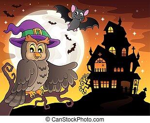 Owl near haunted house