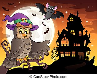 Owl near haunted house