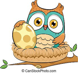 Owl Nest - Illustration of an Owl Warming Up an Egg While...