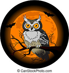 Owl sitting upon a tree branch with a large moon rising in the background