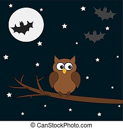 owl on a branch halloween night