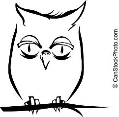 Owl on a branch isolated. Vector illustration.