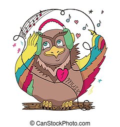 Owl on a branch with colored wings in the headphones listening to music. Flat style. Vector illustration.