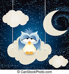 Owl on a night cloud sky background