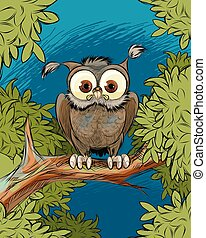 Owl on a tree branch
