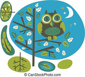 Owl on a tree - Cute owl on a tree, vector illustration