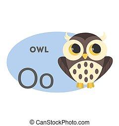 Owl on alphabet.